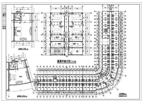 该图纸为某地四层框架结构宾馆建筑设计方案图,图纸内容包含:各层平面