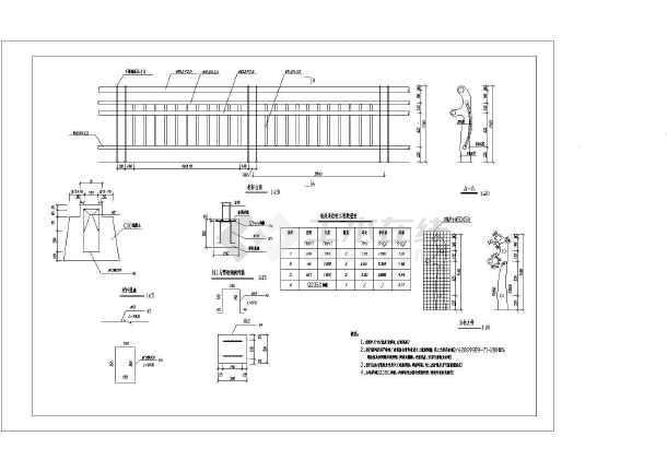 某公司自主设计挡墙栏杆大样尺寸图纸-图1