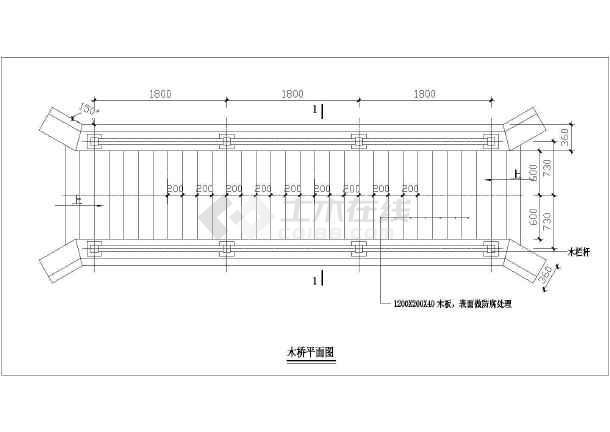 图纸包括:木桥平面图,木桥立面图,栏杆大样图,石桥平面图,立面图,大样