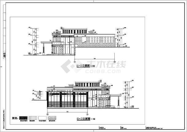 某小区两层框架结构游泳馆建筑建筑设计施工图纸