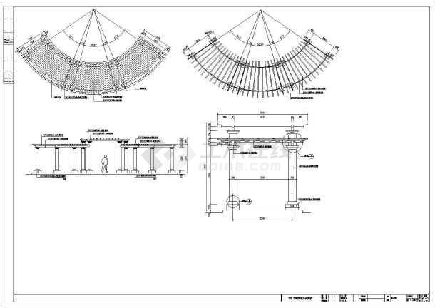平面图下载)  棚架花架设计图(棚架)  某地景观工程欧式弧形廊架建筑