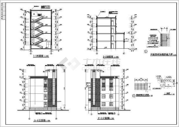 某小学四层框架结构教学楼建筑设计方案图