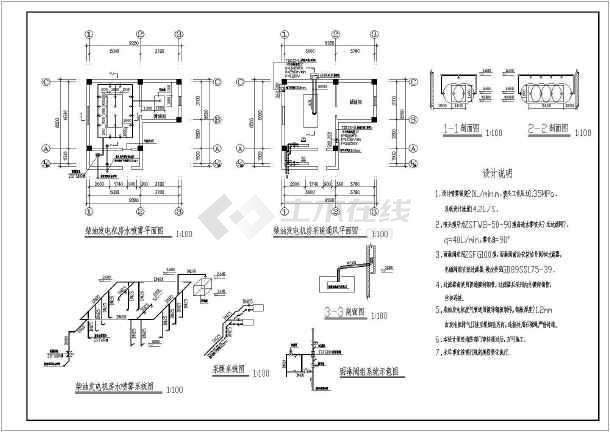 柴油发电机房水喷雾设计方案图纸(喷雾强度20l/min)图片