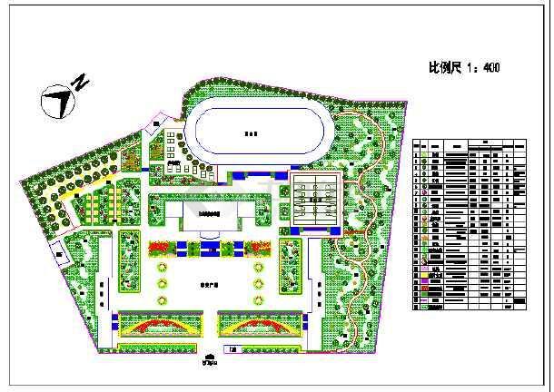 图为某校园景观绿化设计总平面,附植物配置表.