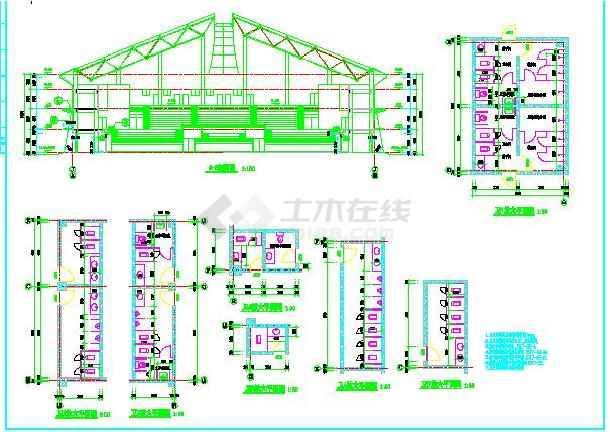 某第体育馆的建筑结构详细全套(图纸)和水井烟筒图纸图片
