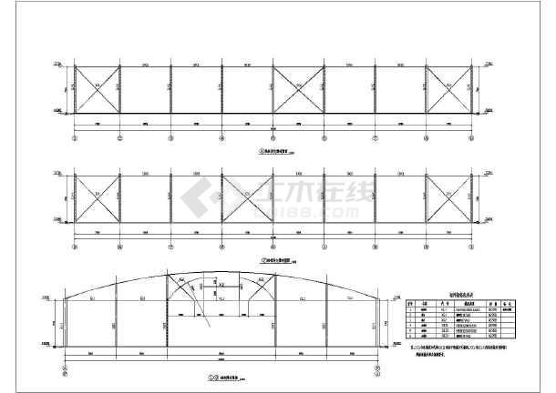 52米跨度索杆体系预应力钢结构施工图_cad图纸下载