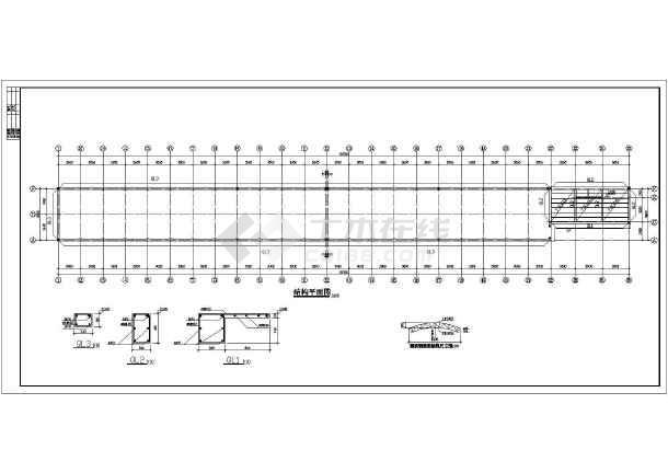 某钢屋架顶棚自行车车棚带管理室施工图图片1