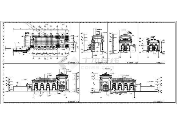 简介:某欧式框架结构住宅小区大门,包括,,剖面图,等,造型典雅大方,面