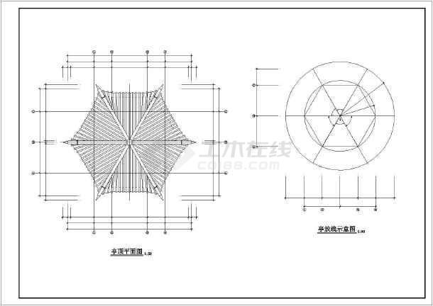 两层六角亭子立面图手绘