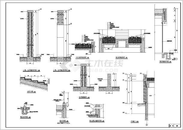 展开剖面,卫生间首层平面详图,卫生间立面图,墙立面图,墙身详图等图纸