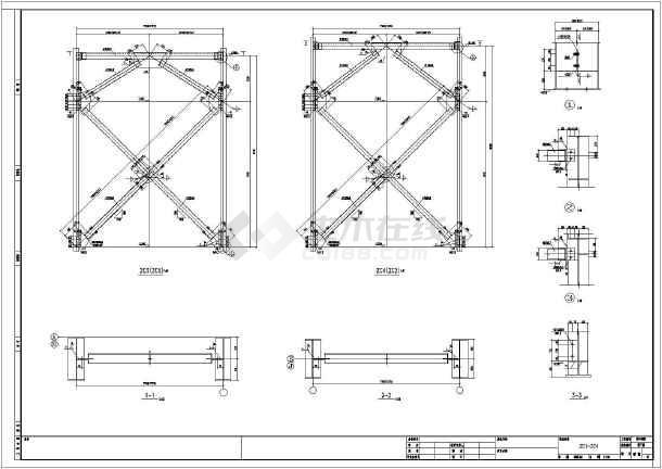 24m跨带图纸钢结构图纸结构图_cad吊车下载建筑厂房的上1+2jj图片
