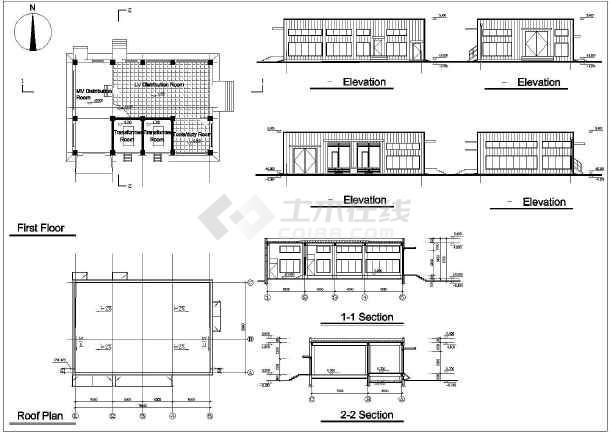 电子厂房建筑组织结构全套详细图纸