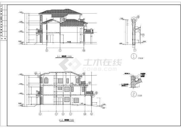 某地三层框架结构别墅建筑设计施工图图片