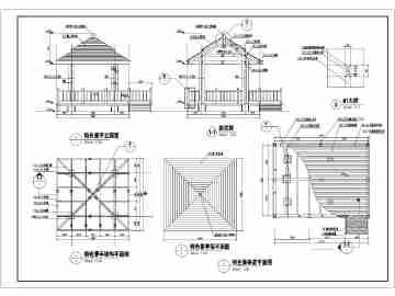 某特色四角防腐木景观亭全套施工图