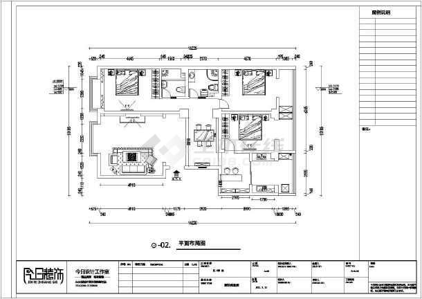 某三室一厅一厨两卫图纸装修设计施工图_cad住宅立体拼接图片