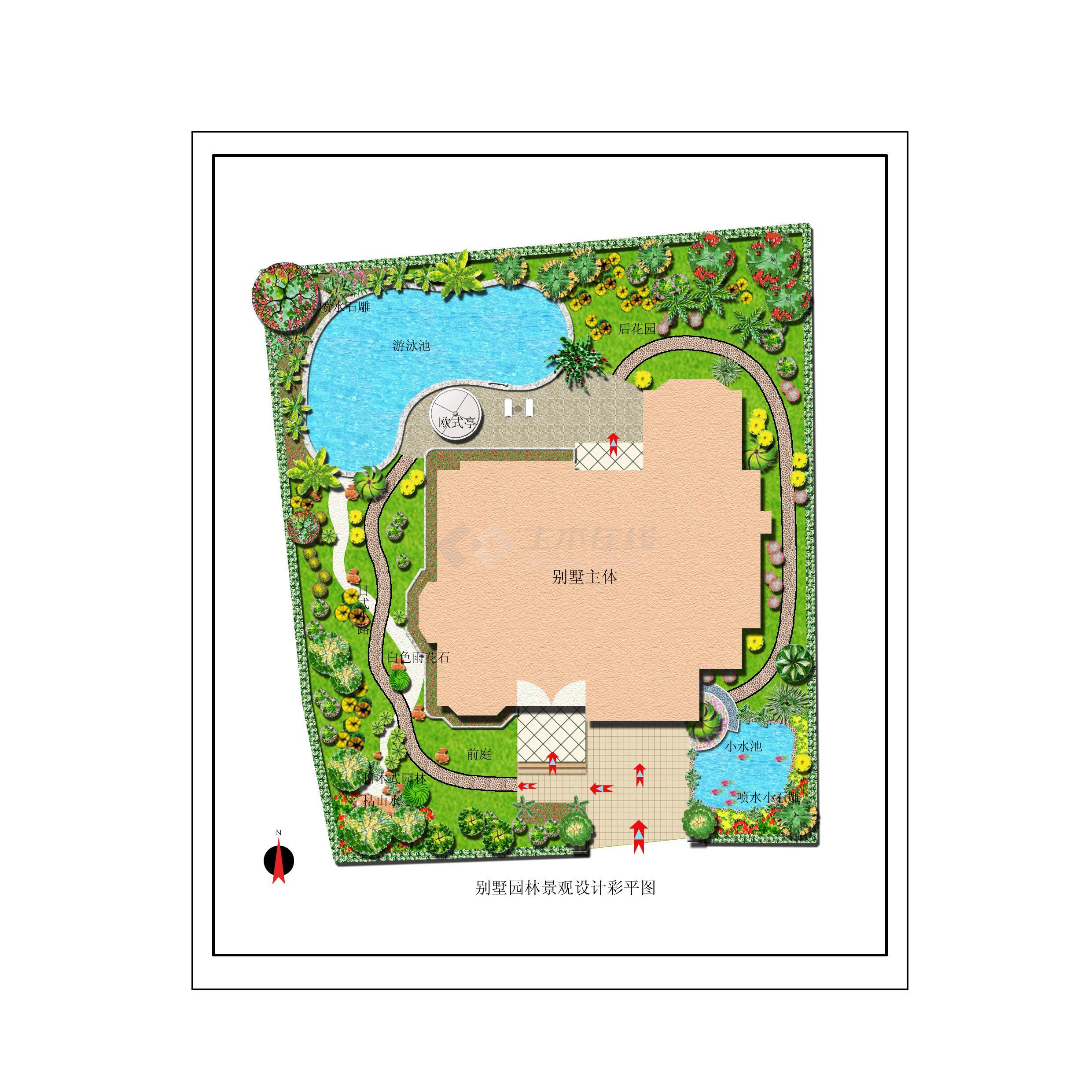 别墅园林景观设计彩平图