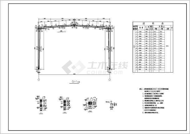 包括建筑设计说明,平面图,立面图,剖面图,结构设计说明,柱脚锚栓平面