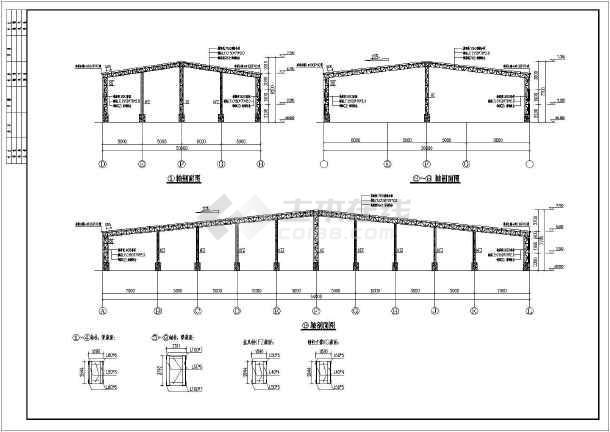 某平面不规则的桁架厂房建筑设计图纸