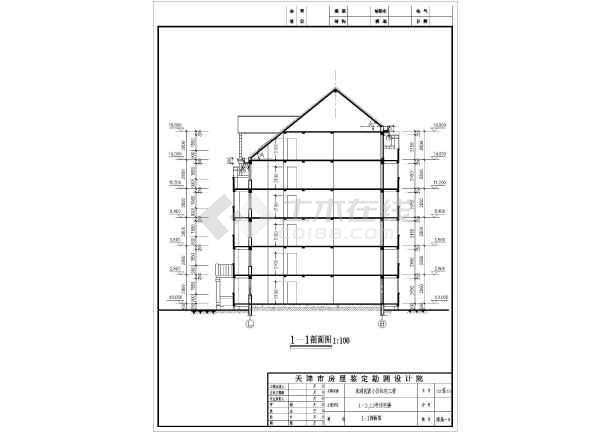 某地一梯二户二拼6层框架结构住宅楼建筑设计方案图