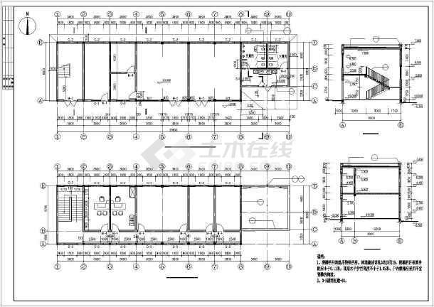 栾川县2层混凝土框架结构加油站综合楼建筑施工图