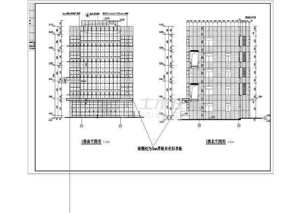 某地6层金融创意产业园办公大楼图纸设计深化建筑幕墙的pj中图片