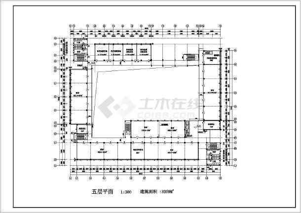 7层框架结构学校多功能教学楼建筑方案图,图纸包括各层平面图,立面图
