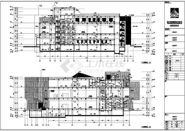 某3层钢筋混凝土客房博物馆建筑施工图_cad图酒店结构v客房cad图片