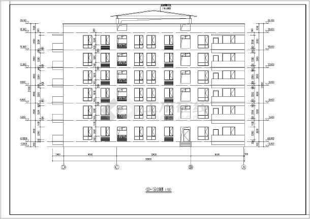 某地六层框架结构青年公寓楼建筑设计方案图