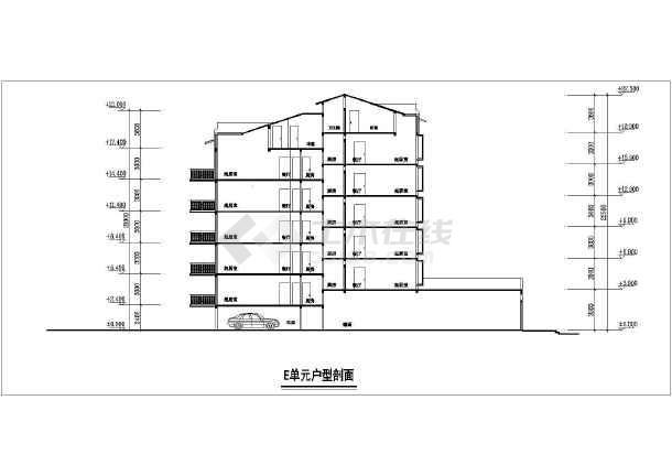 住宅小区单元住宅楼建筑设计平立面图