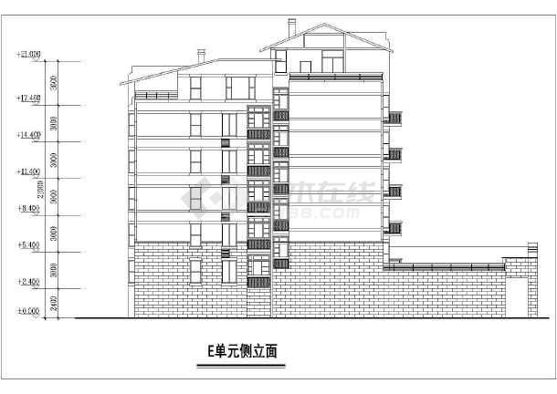住宅小区单元住宅楼建筑设计平立面图图片3