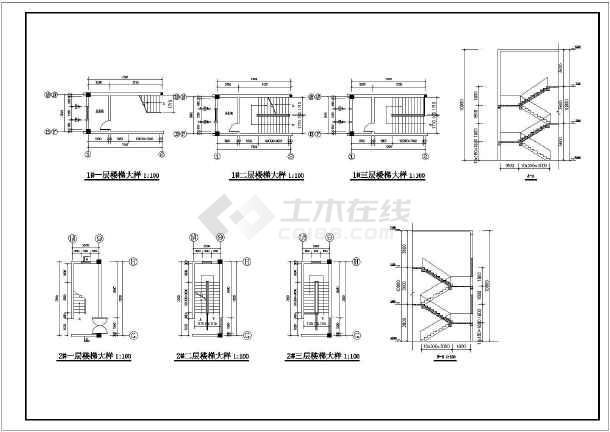 某三层厂房建筑设计图 长57.6米 宽50.4米