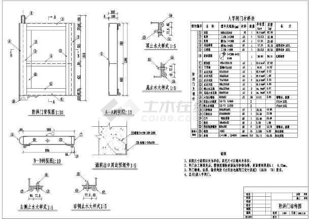 水闸平面剖面图,防洪门结构图等等的设计,闸门采用的是平面钢闸门的