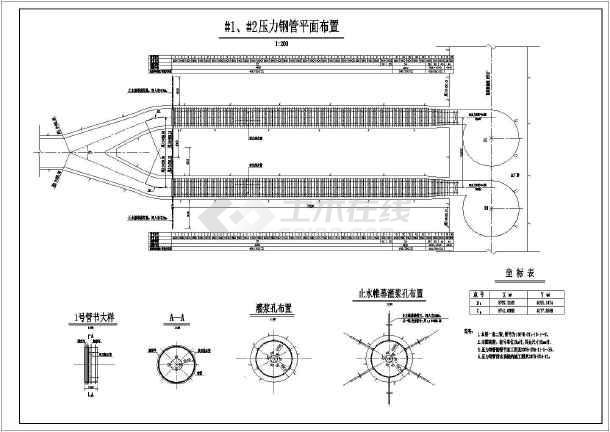 某水电站工程压力钢管布置及结构图