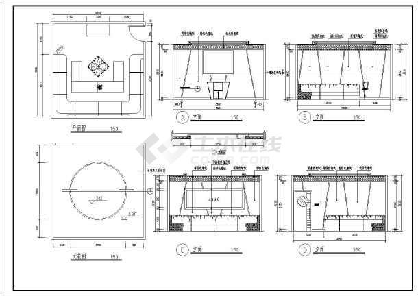 某地区ktv包房室内装修建筑设计图(cad图纸下载)