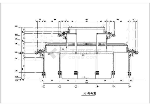 某地仿古阳台柜子斗拱建筑设计施工图_cad图墙图纸重檐两面门楼图片