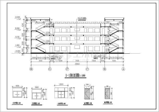 某地三层框架幼儿园建筑设计施工图