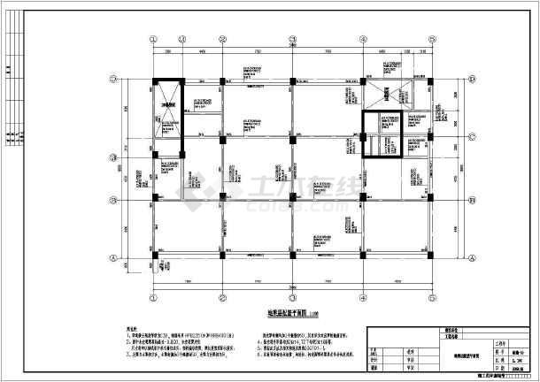 墙宾馆结构设计施工图,图纸内容包括:结构设计说明,基础平面布置图,墙