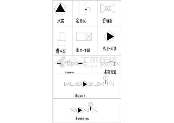 某工程水泵图块(含潜水泵、凯泉系列水泵、螺豆码拼图纸面图片