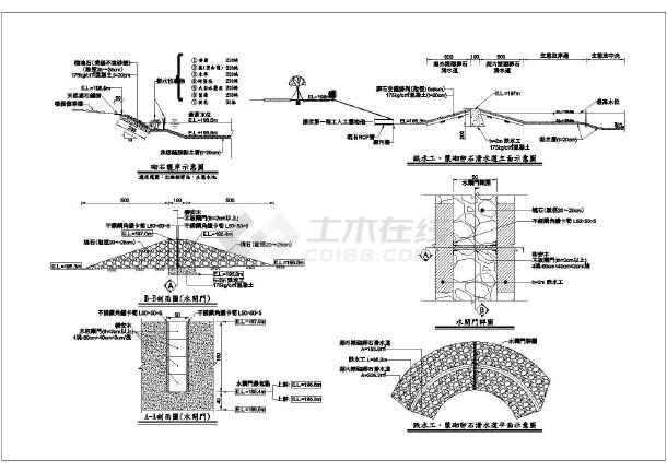 长度、浆砌卵石滑水道、水闸门施工图_cad图cad2007计算水工图片