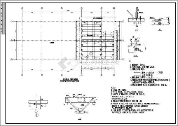厂房结构设计 轻钢结构厂房 【中英文】大连某厂房结构设计施工图