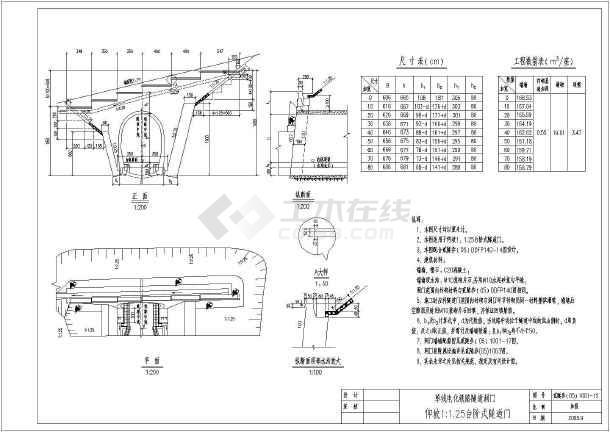 隧道台阶式洞门设计图(单线电化单线铁路洞门书隐形图纸