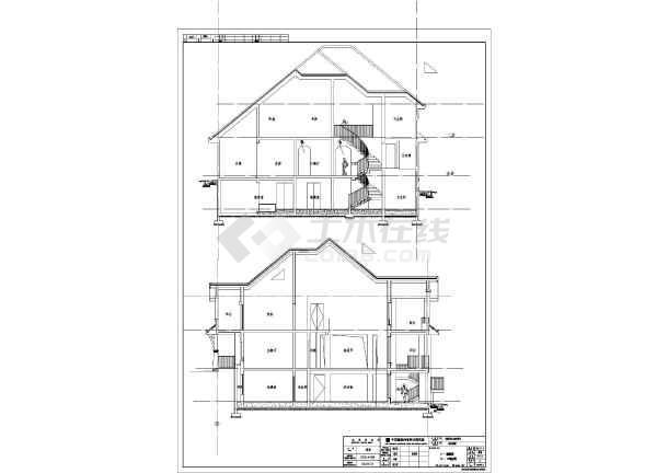 某别墅两层带地下室碧水结构云天别墅v别墅施工图全套小区框架城南图片