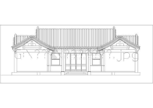 本图纸为:某一进框架结构四合院建筑方案设计图,图纸包括包括:一层图片