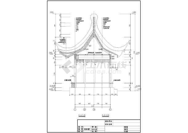 某单层仿古建六角亭结构设计施工图纸