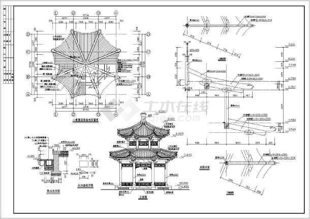 浙江横店某经典木结构八角亭设计图