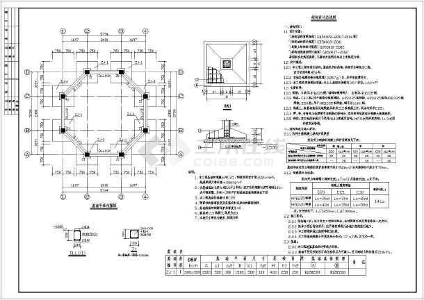 二重檐屋面结构布置图, 立面图 ,角梁详图,剖面图, 结构设计总说明
