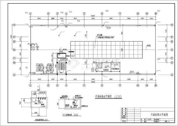 某地5层办公楼给排水平面图和卫生间大样图