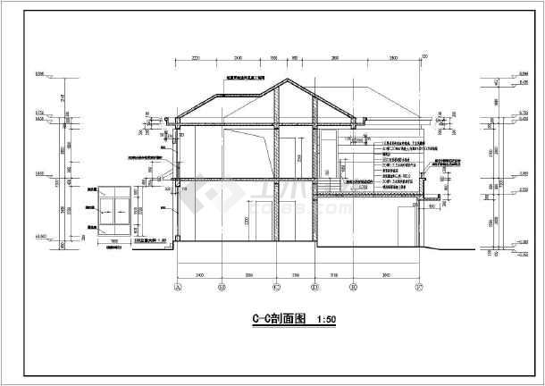 某地两层砖混结构农村别墅建筑设计施工图纸图片
