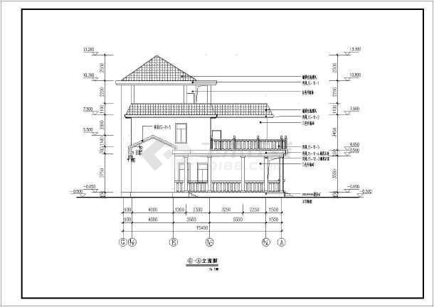 某地3层简中式别墅施工图,包括一层,二层平面图,三层平面,坡屋顶