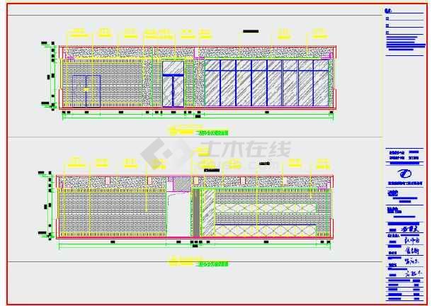 简洁风格影视文化传媒公司办公室装修施工图